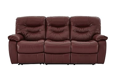 Relax Station Cozy 3 Seater Leather Recliner Sofa in Nc-035c Deep Red on Furniture Village