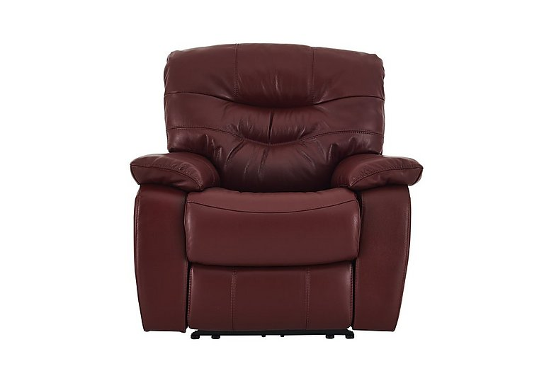 Relax Station Cozy Leather Recliner Armchair in Nc-035c Deep Red on FV
