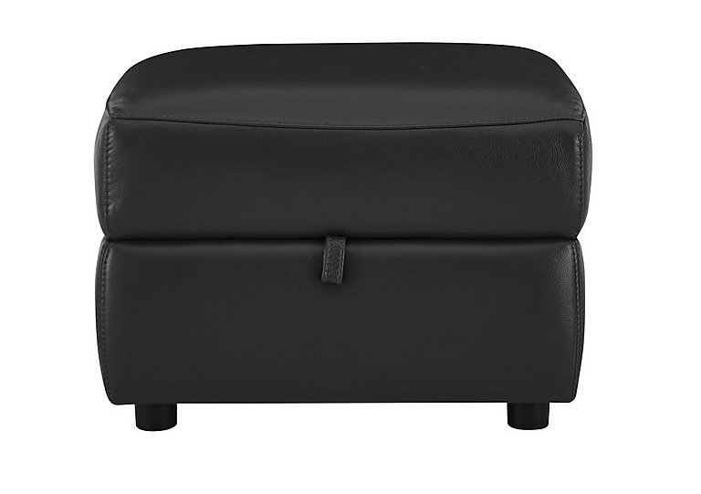 Relax Station Cozy Leather Storage Footstool in Nc-023c Black on FV