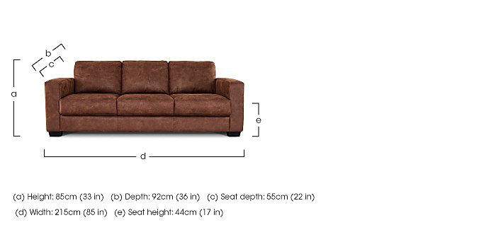 Dante 3 Seater Fabric Sofa in  on FV