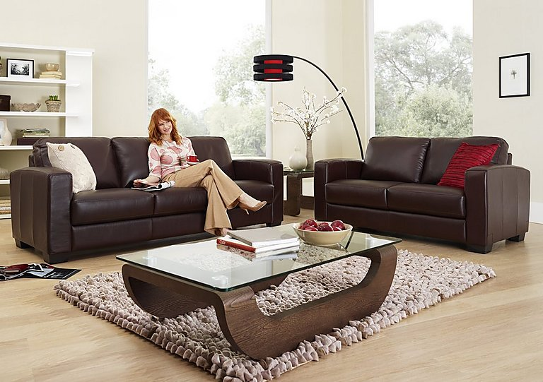 Furniture Village Dante dante 3 seater leather sofa - furniture village