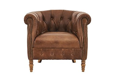 New England Dukes Leather Armchair in Cal Original W-Oak Feet on FV