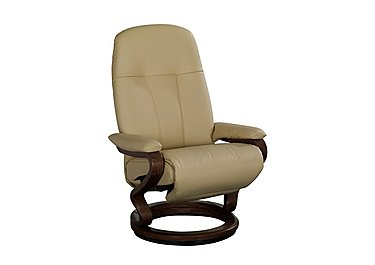 Zerostress Eske Leather Armchair with Footstool in Longlife Balsa on FV
