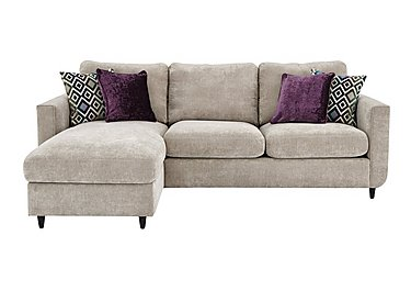 Esprit Fabric Corner Chaise with Storage in Silver Ebony Feet on Furniture Village