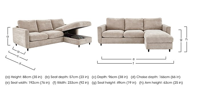 Esprit Fabric Corner Chaise with Storage in  on Furniture Village