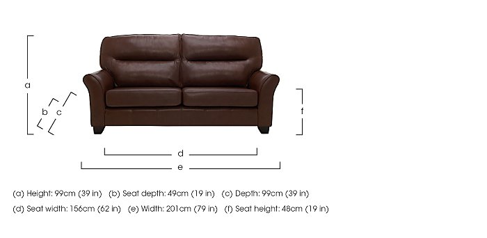 Gemma 3 Seater Leather Sofa in  on FV