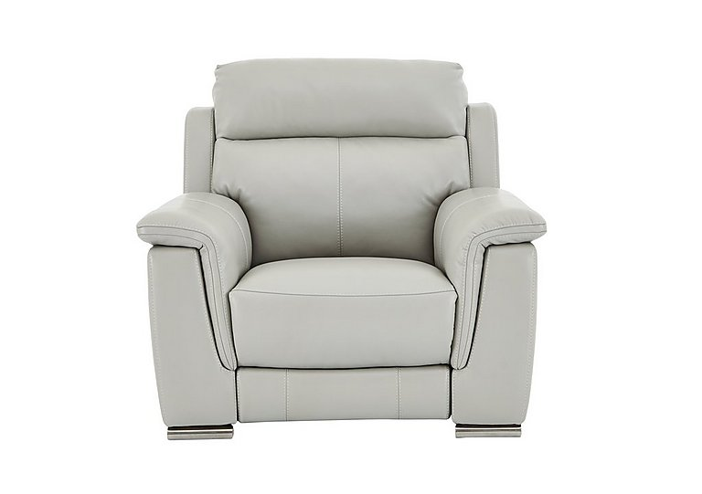 Glider Leather Recliner Armchair in An-041e Oyster Grey on FV