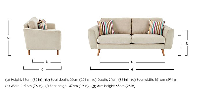 Jenson Large 2 Seater Fabric Sofa  in {$variationvalue}  on FV