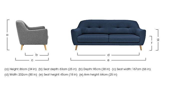 Kurve 3 Seater Fabric Sofa