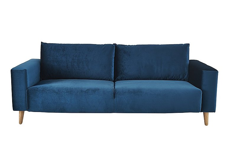 Magnus 3 Seater Fabric Sofa in Genova-603 Turquoise-Nat Feet on FV