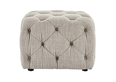 New England Maine Fabric Footstool in Merchant Linen Wht Sand Wo-Ft on FV