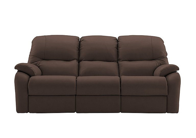 Mistral 3 Seater Leather Recliner Sofa in P200 Capri Chocolate on FV