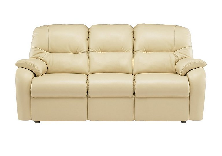 Mistral 3 Seater Leather Recliner Sofa in P206 Capri Cream on FV