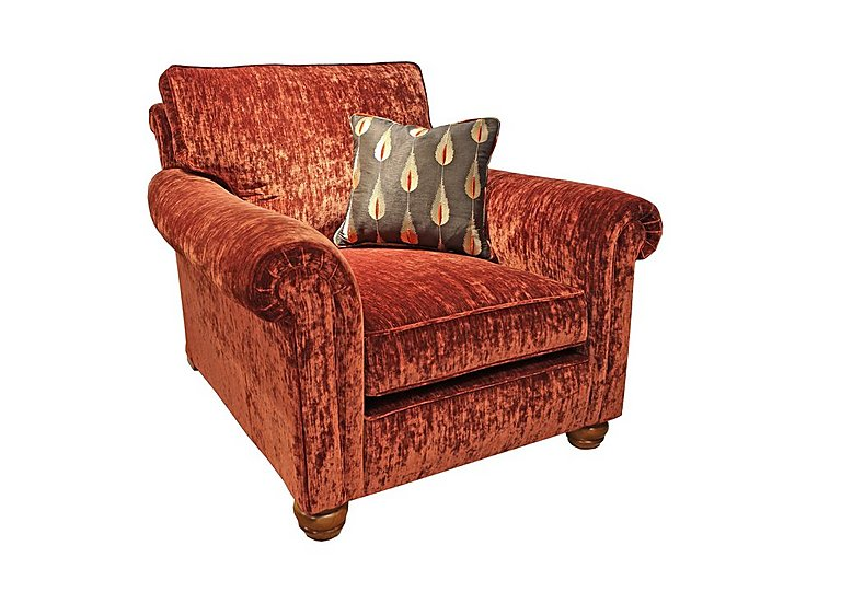 Monsoon Fabric Armchair in Hugo - Brick Red on Furniture Village