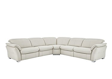 Mustang Leather Recliner Corner Sofa in Nc-156e Frost on FV