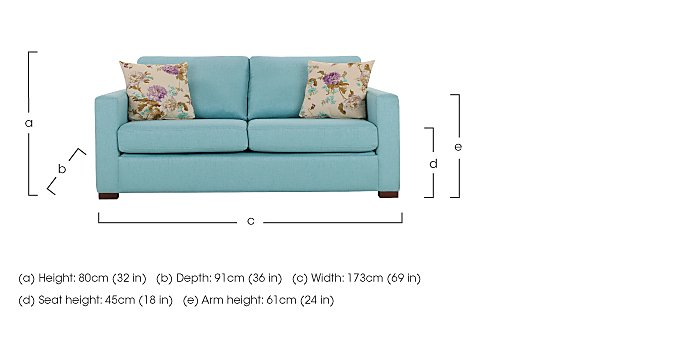 Petra 3 Seater Fabric Sofa in  on FV