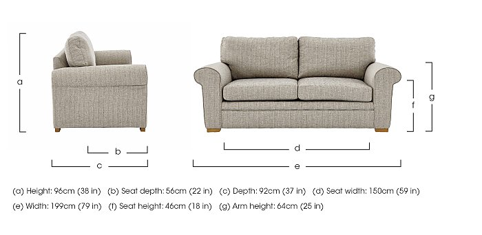 Reigate 3 Seater Fabric Sofa