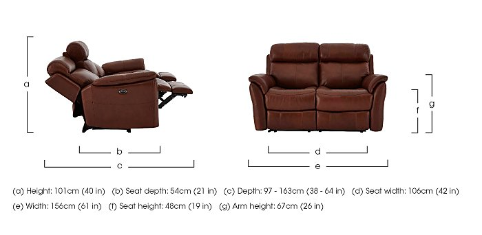 Relax Station Revive 2 Seater Leather Recliner Sofa in  on FV