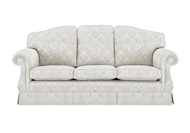 DG Sandringham 3 Seater Fabric Sofa in Pendragon Damask Oyster Dwalft on FV