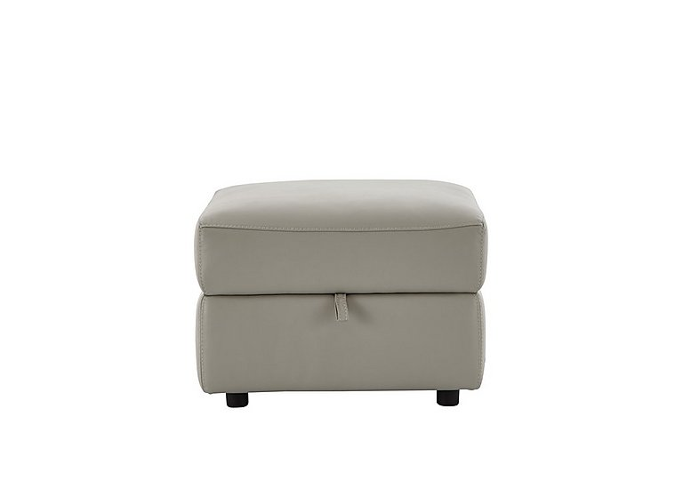 Relax Station Serenity Leather Storage Footstool in Bv-946b Silver Grey on Furniture Village