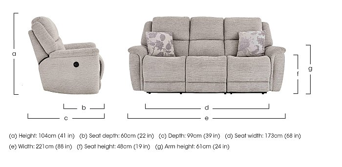 Sheridan 3 Seater Fabric Recliner Sofa in  on FV