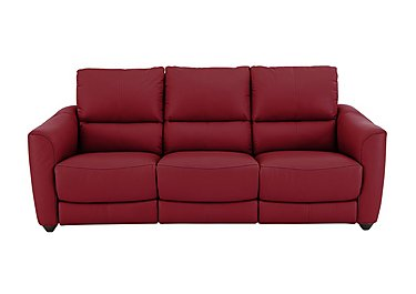 Trilogy 3 Seater Leather Recliner Sofa in Bv-0008 Pure Red on Furniture Village