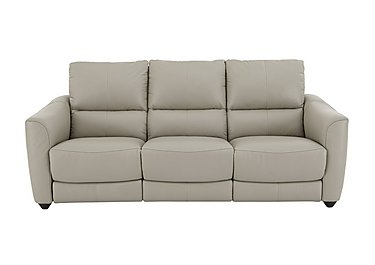 Trilogy 3 Seater Leather Recliner Sofa in Bv-946b Silver Grey on FV