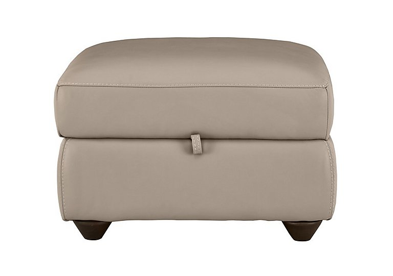 Trilogy Leather Storage Footstool in An-940b Light Taupe on FV
