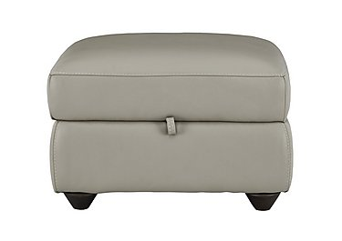 Trilogy Leather Storage Footstool in Bv-946b Silver Grey on FV