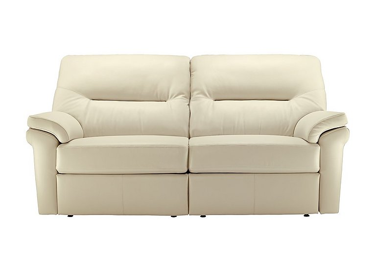 Washington 3 Seater Leather Recliner Sofa in P220 Capri Chalk on Furniture Village