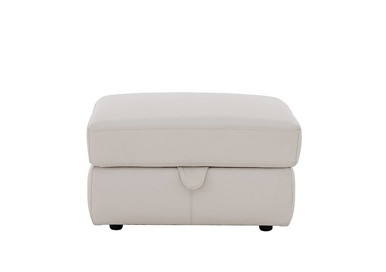 Washington Leather Footstool in P220 Capri Chalk on Furniture Village