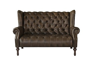 New England Windham 2 Seater Leather Sofa in Cal Smoke Dark Feet on FV