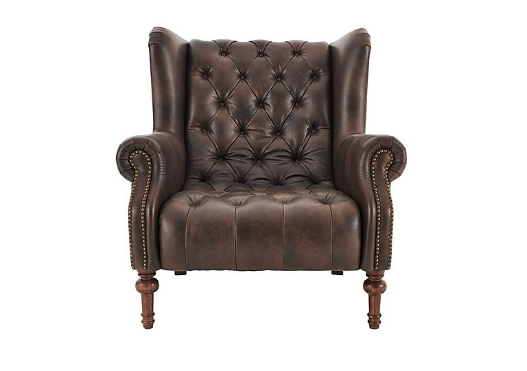 New England Windham Leather Armchair in Cal Smoke Dark Feet on Furniture Village