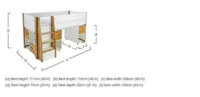Corvo Midsleeper with Pull Out Desk and 3 Drawer Chest in  on FV