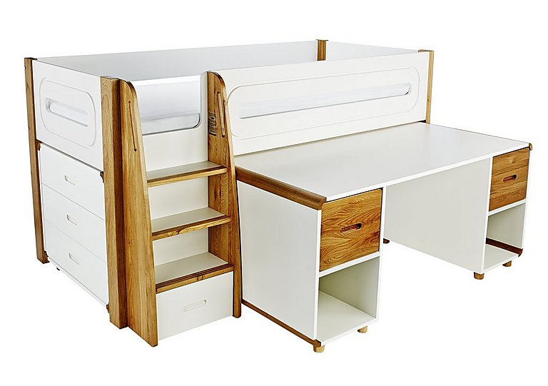 Corvo Midsleeper with Pull Out Desk and 3 Drawer Chest in Oak on FV
