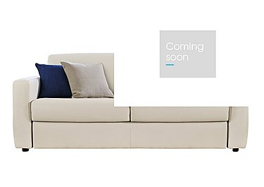 Arona 2 Seater Leather Sofa Bed in Denver 10bl Warm White on FV