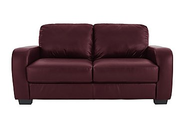 Astor 2.5 Seater Leather Sofa Bed in Go-173e Roan Rouge on FV