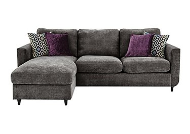 Esprit Fabric Chaise Sofa Bed with Storage in Pewter Ebony Feet on Furniture Village