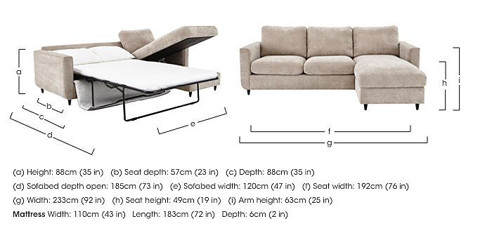 Esprit Fabric Chaise Sofa Bed with Storage in  on FV