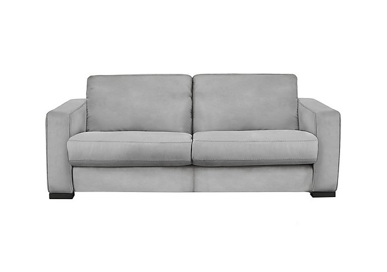 Siesta 2.5 Seater Leather Sofa Bed in Bv-946b Silver Grey on Furniture Village