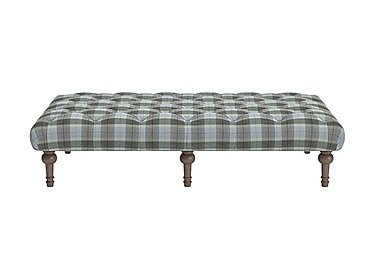 New England Addison Large Fabric Footstool in Blanket Plaid Sky Dark Feet on FV