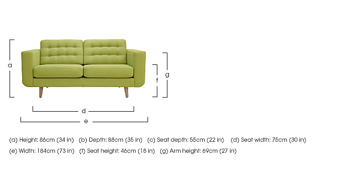 Alva 2 Seater Fabric Sofa in  on FV