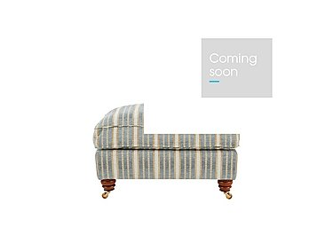 Chelsea Village Fabric Foostool in Tracery Stripe Limestone Blue on FV