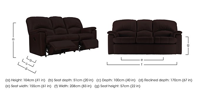 Chloe 3 Seater Leather Recliner Sofa in  on FV
