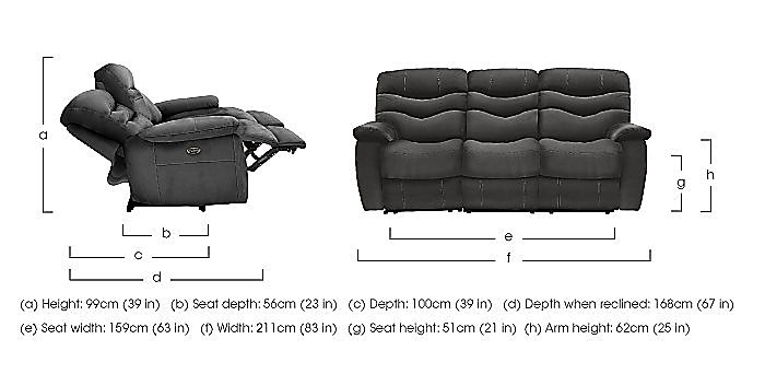 Relax Station Cozy 3 Seater Fabric Recliner Sofa in  on Furniture Village