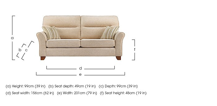 Gemma 3 Seater Fabric Sofa in  on FV