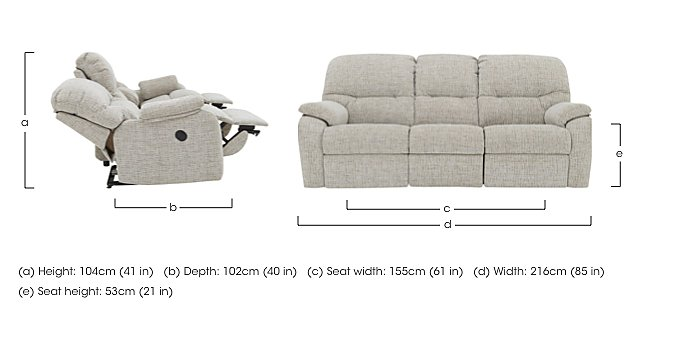 Mistral 3 Seater Fabric Recliner Sofa in  on FV