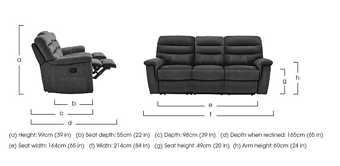 Relax Station Serenity 3 Seater Fabric Recliner Sofa in  on Furniture Village