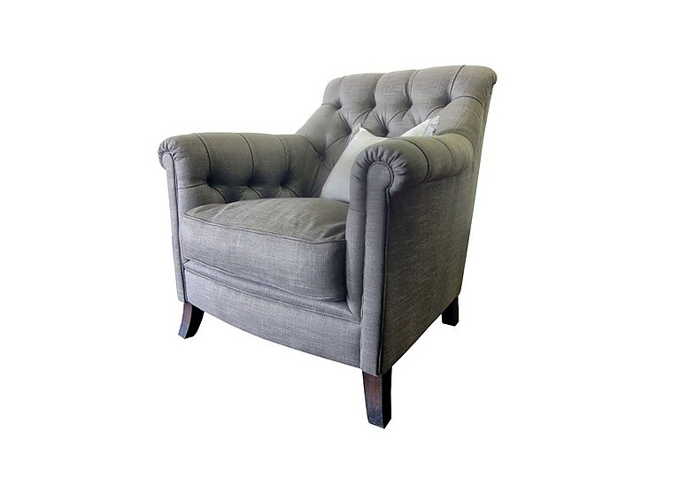 Sonata Fabric Armchair in Saville Clay Dark Mahogany Ft on FV