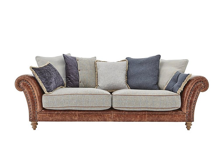 Westwood 3 Seater Leather Sofa in Sky Blue Wool/Velvet Slate on Furniture Village
